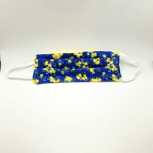 Blue & Yellow Floral Vintage Style Face Mask